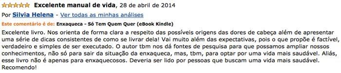 Depoimento de Silvia Helena no site da Amazon