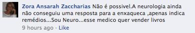 Comentário de médica neurologista no Facebook sobre meulivro